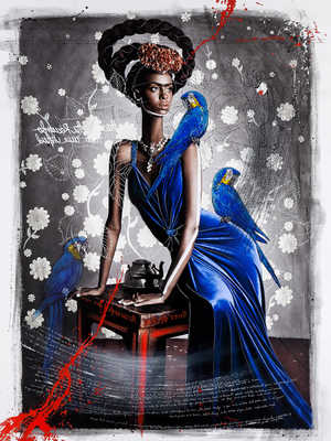 Black Frida with Blue Macaws de Efren Isaza