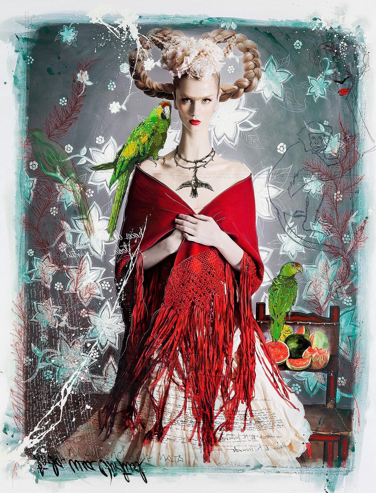 Blonde Frida with Red Shawl - Efren Isaza
