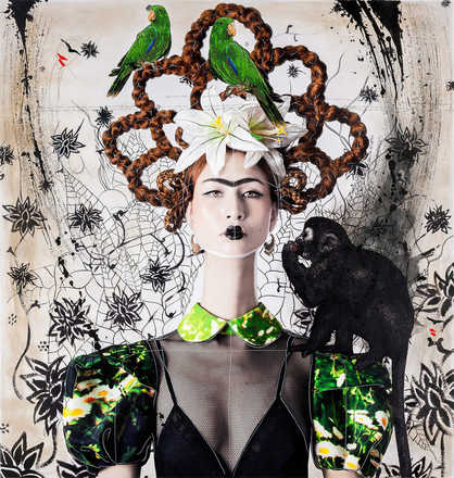 Ginger Haired Frida with Monkey and Parrots - Efren Isaza