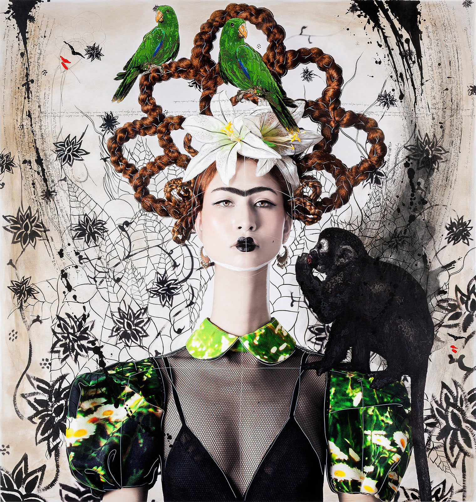 Ginger Haired Frida with Monkey and Parrots by Efren Isaza