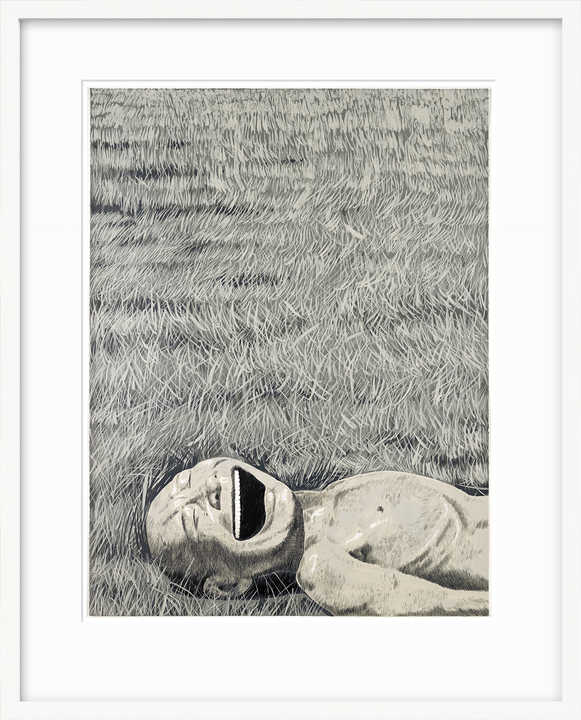 The Grassland Series, Lying Head Laughing by Yue Minjun