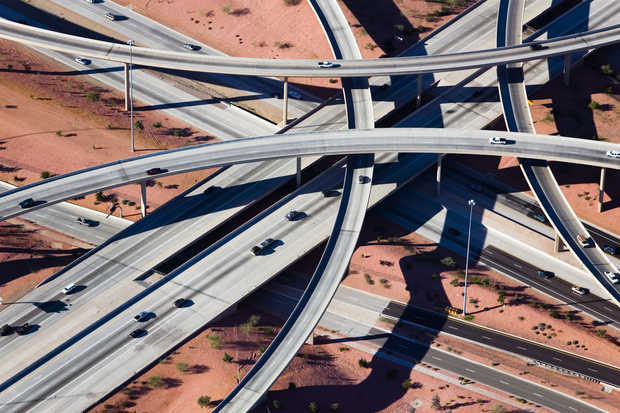 Crisscrossed Highway interchange, Phoenix, Arizona - Alex Maclean
