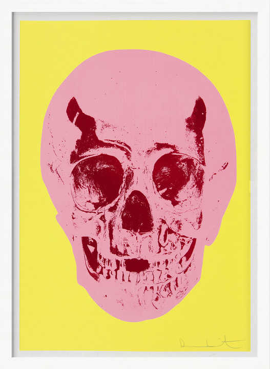 Till Death Do Us Part - Heaven - Lemon Yellow Pigment Pink Chilli Red Pop Skull by Damien Hirst