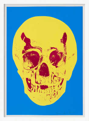 Till Death Do Us Part - Cerulean - Blue Pigment Yellow Royal Red Pop Up Skull de Damien Hirst