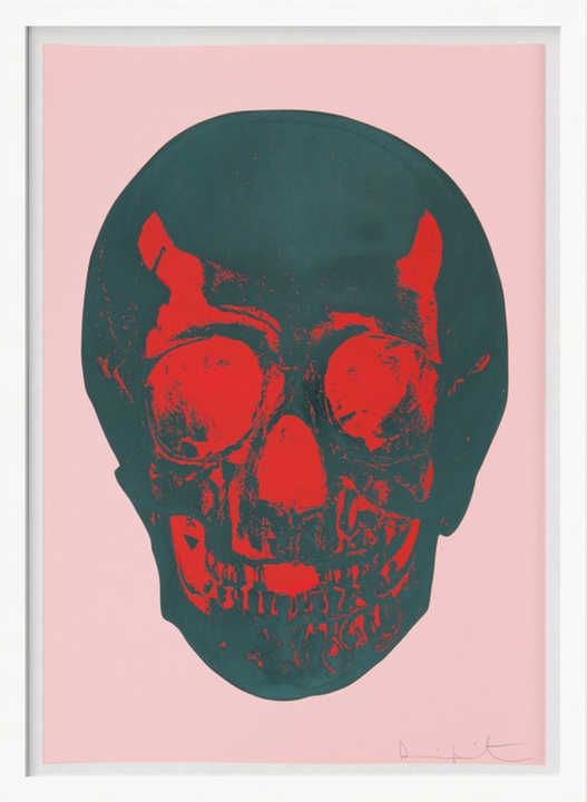 Till Death Do Us Part - Candy Floss - Pink Racing Green Pigment Red Pop Skull by Damien Hirst