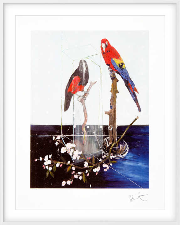 Two Birds with Blossom by Damien Hirst