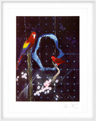 Red Bird and Parrot with Shark Jaw by Damien Hirst