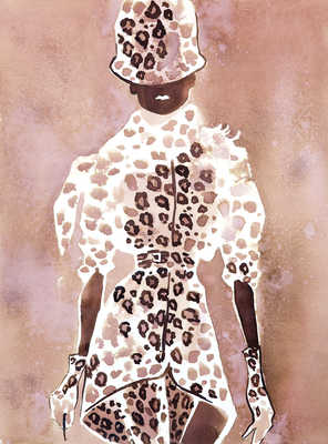 Givenchy Couture leopard suit with a hat von Eduard Erlikh