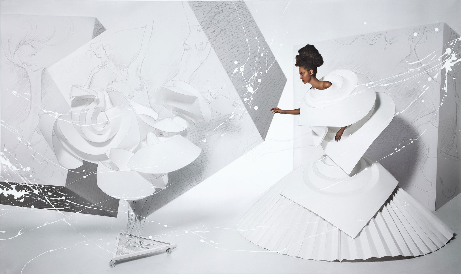 Black Girl in Origami dress with rooster
