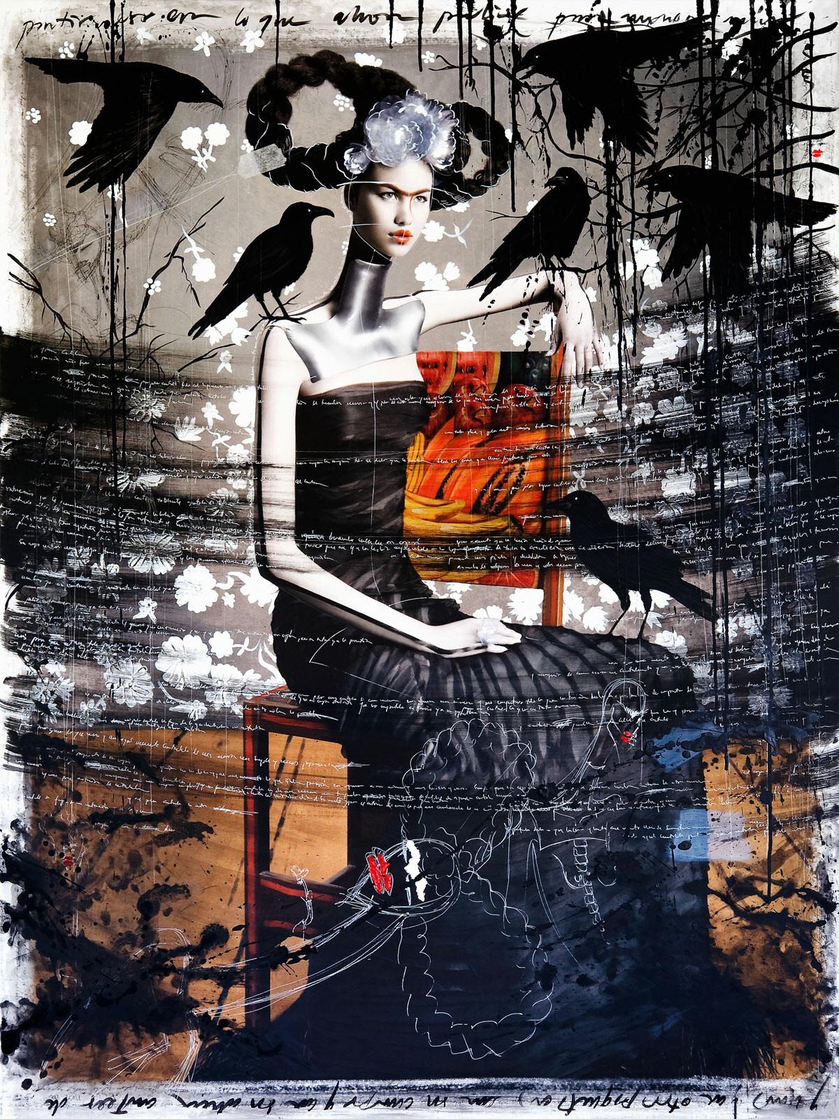 Frida with crows - Efren Isaza