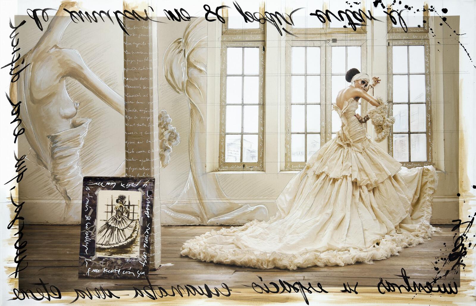 Haute Couture beige dress - Efren Isaza