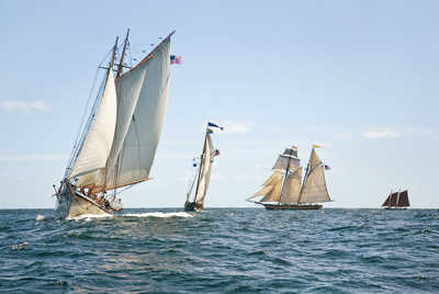 Schooners Racing off Gloucester Harbor by Greg Pease
