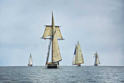 Schooners Racing on the Chesapeake Bay by Greg Pease