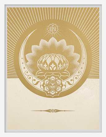 Obey Lotus Crescent (White & Gold) - Shepard Fairey