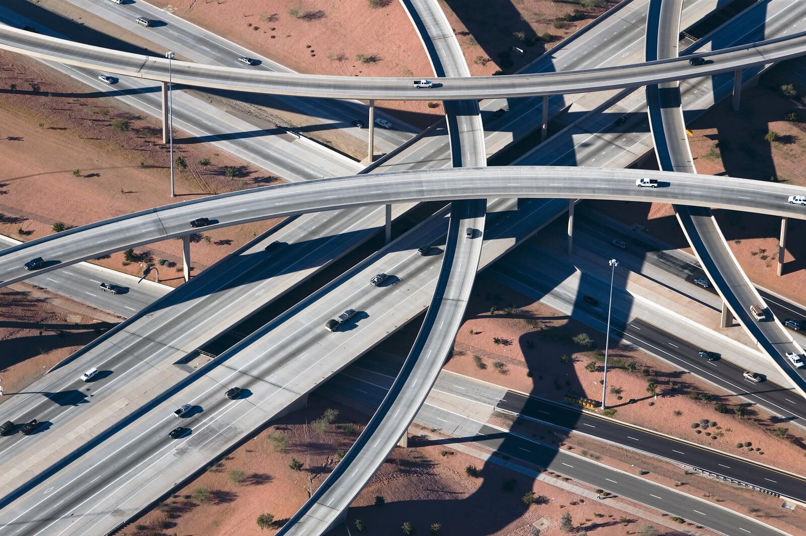 Crisscrossed Highway interchange, Phoenix, Arizona - Alex Maclean