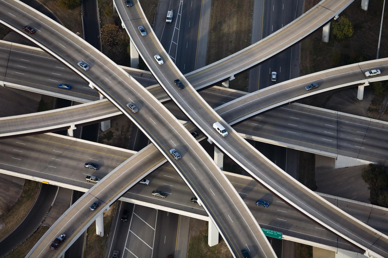 Inverted Cloverleaf interchange RT1 and RT183, Austin, Texas - Alex Maclean
