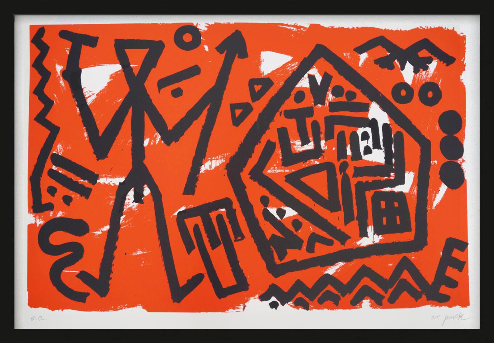 Pentagon rot - A.r. Penck