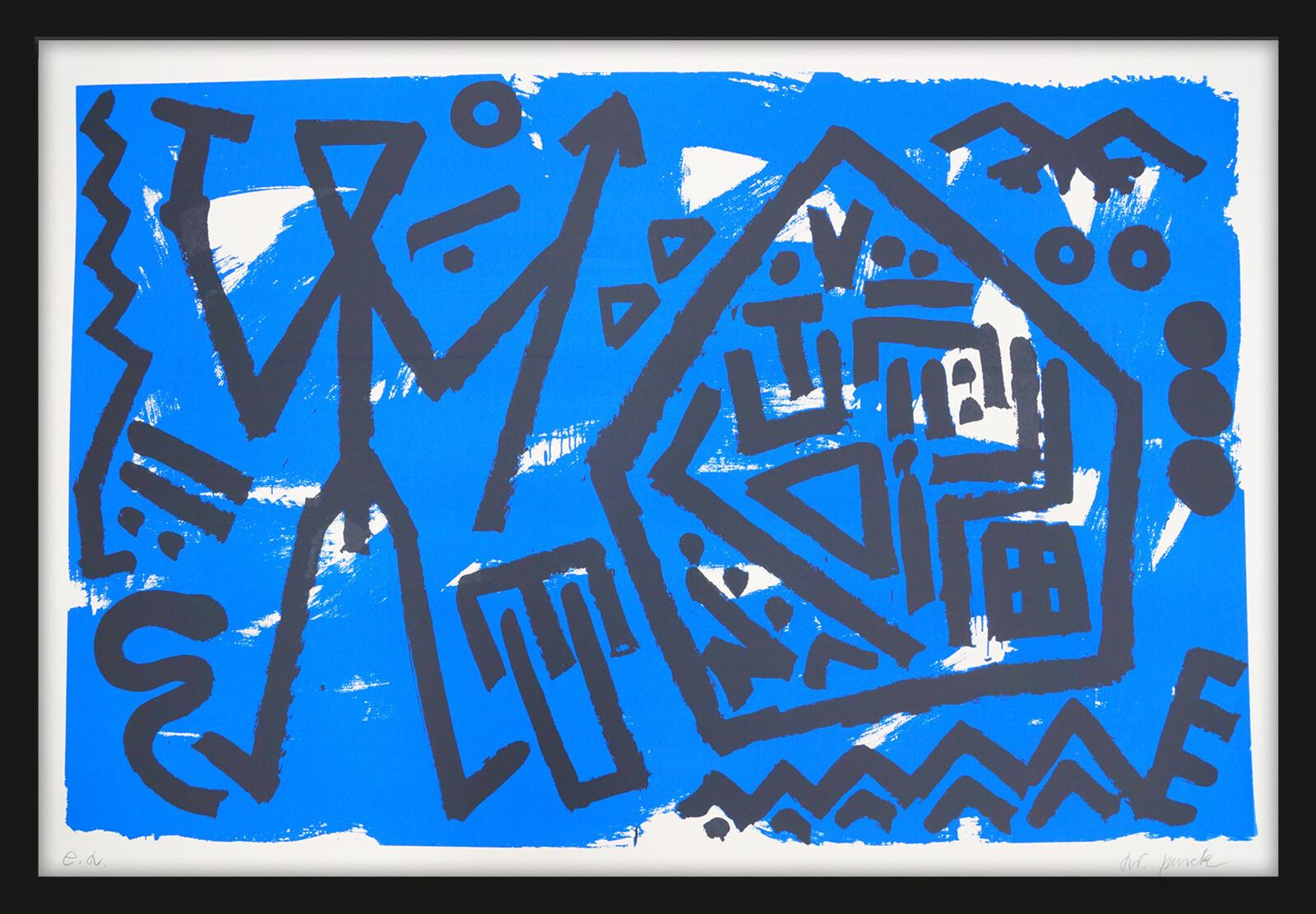 Pentagon blau - A.r. Penck