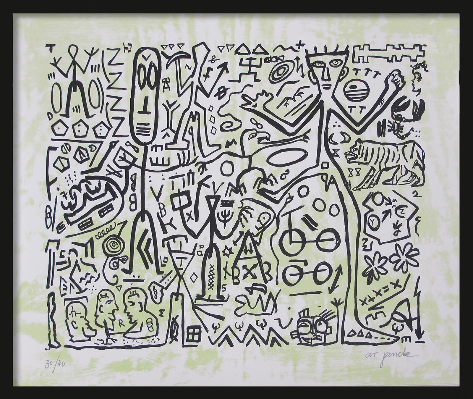 Ohne Titel (Version Grün) - A.r. Penck