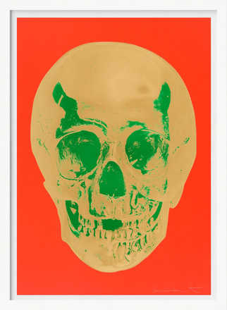 Till Death Do Us Part - Time - Bright Orange African Gold Emerald Green Pop Up Skull - Damien Hirst