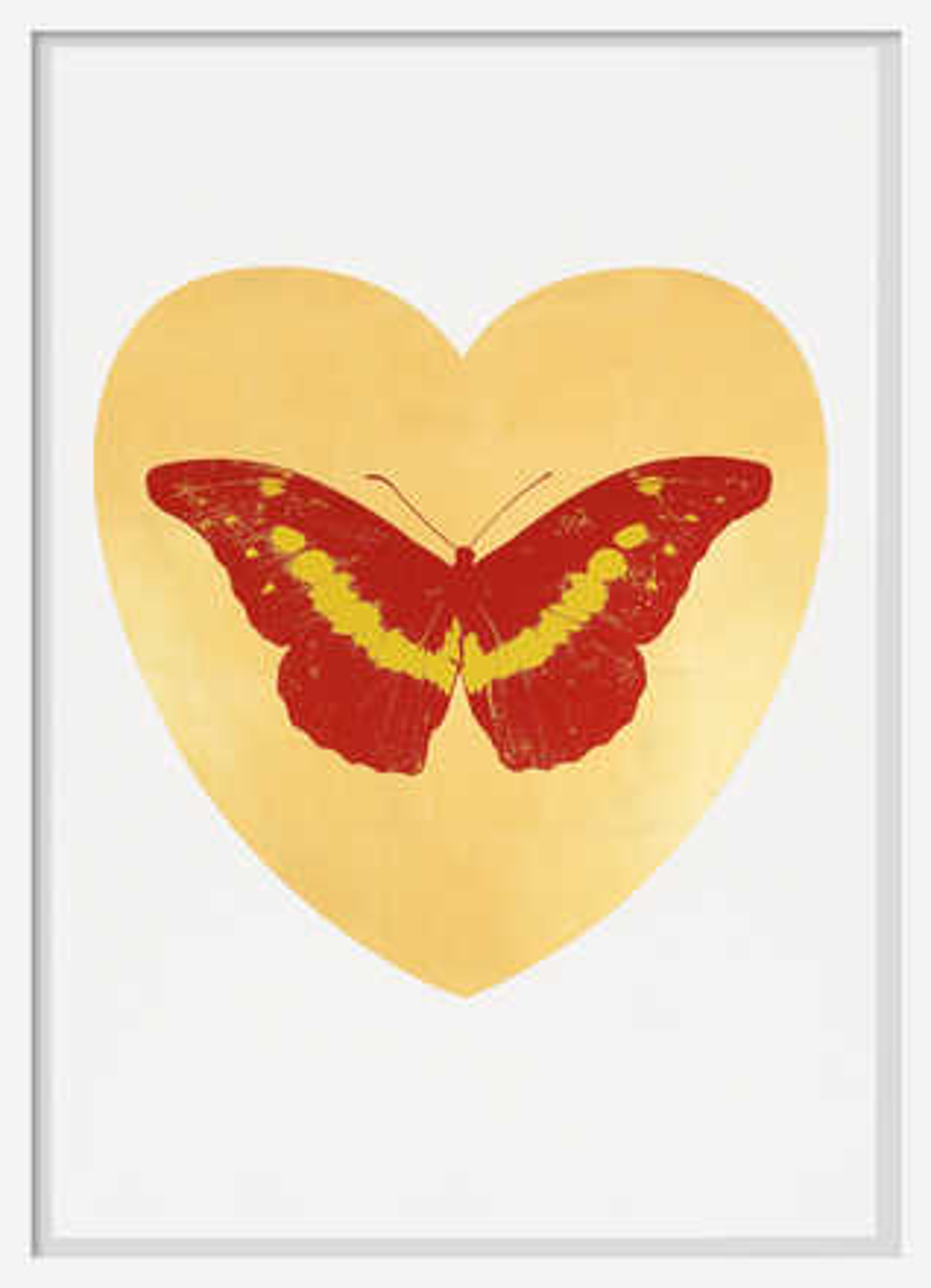 I Love You - gold leaf, poppy red, oriental gold - Damien Hirst