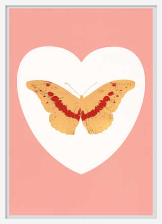 I Love You - white, pink, cool gold, poppy red - Damien Hirst