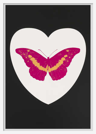 I Love You - white, black, fuchsia, cool gold - Damien Hirst