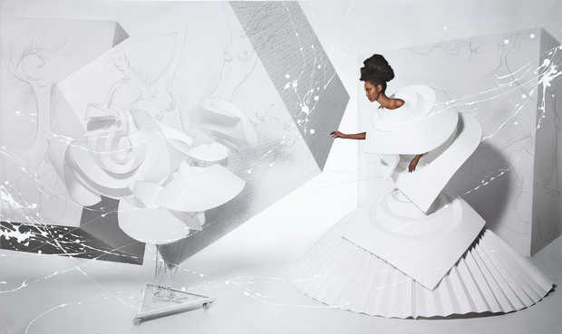Black Girl in Origami dress with rooster - Efren Isaza